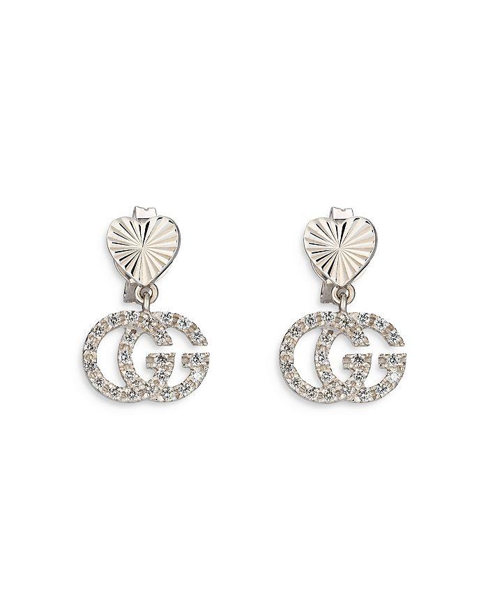 Gucci - 18K White Gold Diamond Double G Drop Earrings