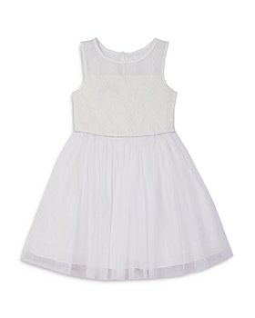 Pippa & Julie - Girls' Lace Illusion Neckline Fit & Flare Dress - Big Kid