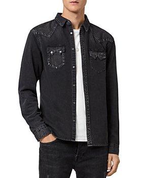 ALLSAINTS - Bassett Washed Denim Regular Fit Western Shirt