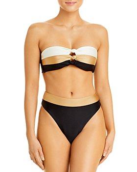PQ Swim - Knot Bandeau Bikini Top & Colorblocked High Waist Bikini Bottom
