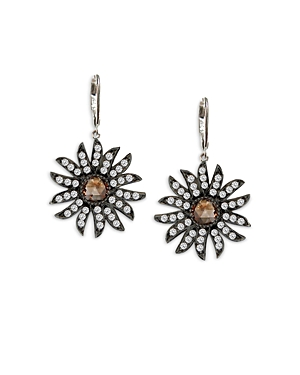 Amrapali Jewels 18k White Gold Champagne & White Diamond Flower Drop Earrings In Orange/gold
