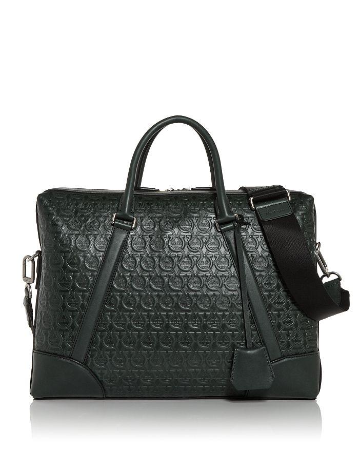 Salvatore Ferragamo - Tech Gancini Embossed Leather Briefcase