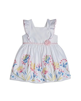 Pippa & Julie - Girls' Floral Embroidered Pinafore Cotton Dress - Little Kid