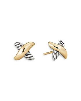 David Yurman - Sterling Silver & 18K Yellow Gold Petite X Stud Earrings