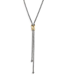 David Yurman - Sterling Silver & 18K Yellow Gold Petite X Lariat Necklace, 17-18""
