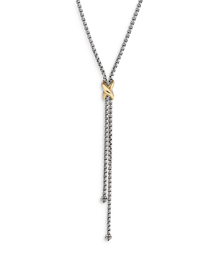 DAVID YURMAN Necklaces STERLING SILVER & 18K YELLOW GOLD PETITE X LARIAT NECKLACE, 17-18