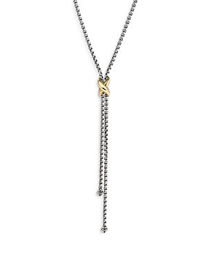 David Yurman STERLING SILVER & 18K YELLOW GOLD PETITE X LARIAT NECKLACE, 17-18