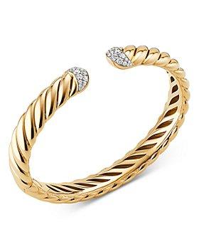 David Yurman - 18K Yellow Gold & Diamond Sculpted Cable Cuff Bracelet