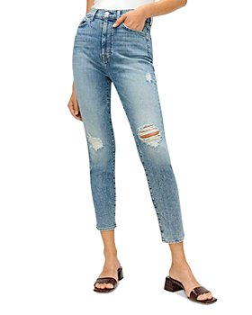 7 For All Mankind - High Waist Ankle Skinny Jeans in Blue