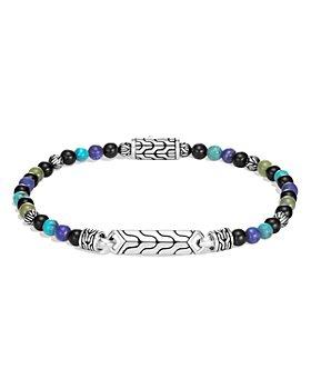 JOHN HARDY - Sterling Silver Classic Chain Bead Bracelet with Lapis Lazuli, Black Onyx, Green Jade & Turquoise