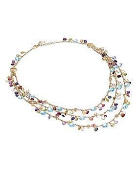 "Marco Bicego - 18K Yellow Gold Paradise Mixed Gemstone Three Strand Bib Necklace, 16.5"""