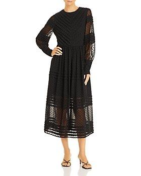 AQUA - Clip Dot Long Sleeve Midi Dress - 100% Exclusive
