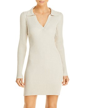 AQUA - Collared Ribbed Long Sleeve Mini Dress - 100% Exclusive