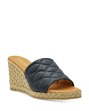 Women's Analise Square Toe Quilted Leather Espadrille Wedge Sandals