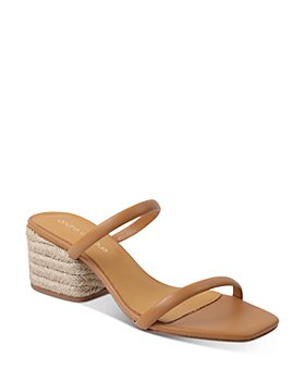 Andre Assous - Women's Joie Square Toe Mid Heel Leather Slide Sandals