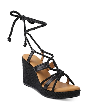 Women's Ash Jute & Leather Strappy Espadrille Wedge Sandals