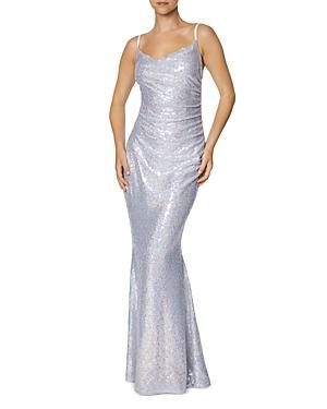 Sequin Cowl Neck Gown