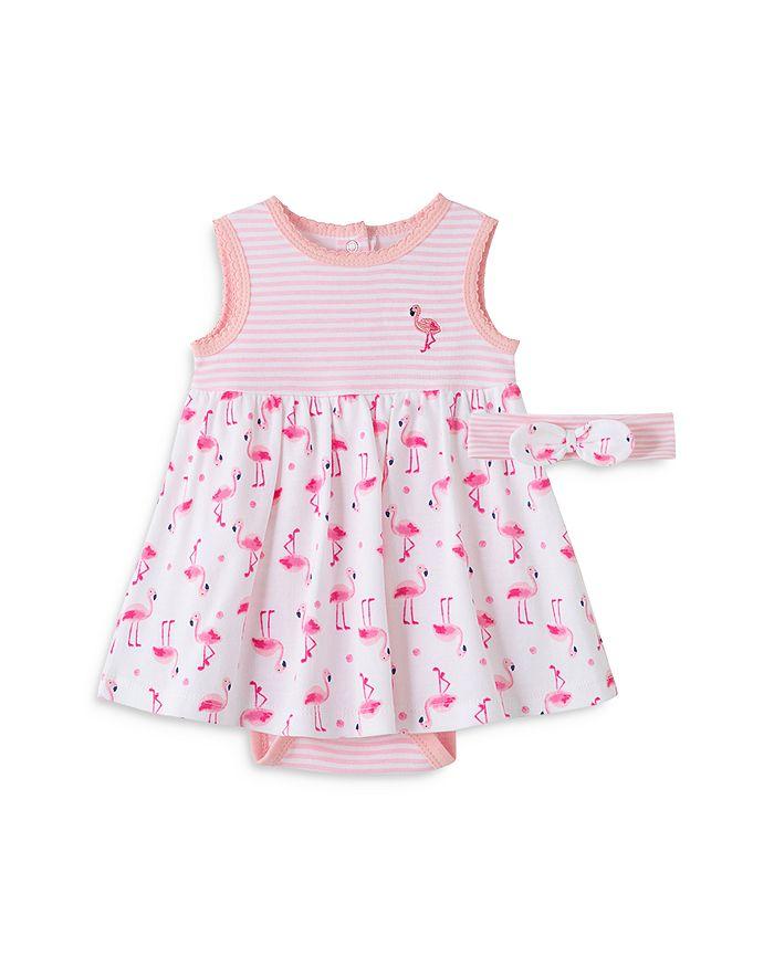 Little Me GIRLS' FLAMINGO BODYSUIT DRESS & HEADBAND SET - BABY