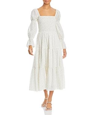 Smocked Floral Print Midi Dress