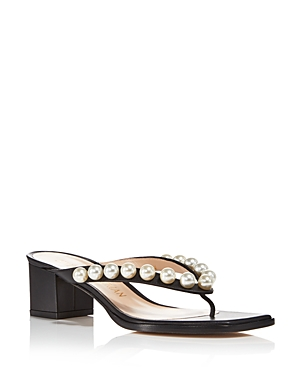 Stuart Weitzman WOMEN'S GOLDIE SQUARE TOE PEARL EMBELLISHED MID HEEL THONG SANDALS