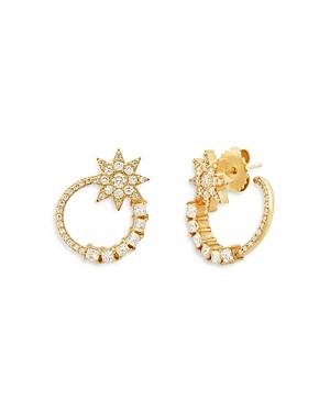 18K Yellow Gold Galaxia Diamond Shooting Star Spiral Hoop Earrings