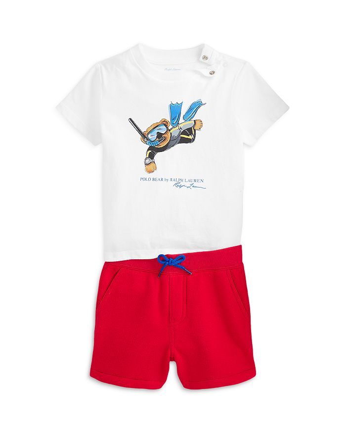 Ralph Lauren POLO RALPH LAUREN BOYS' SCUBA BEAR TEE & FLEECE SHORTS SET - BABY