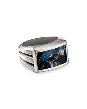 David Yurman - Sterling Silver Beveled Signet Ring with Pietersite