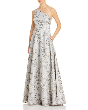 One Shoulder Floral Metallic Gown