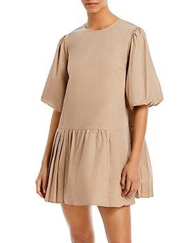 AQUA - Drop Waist Pleated Poplin Mini Dress - 100% Exclusive