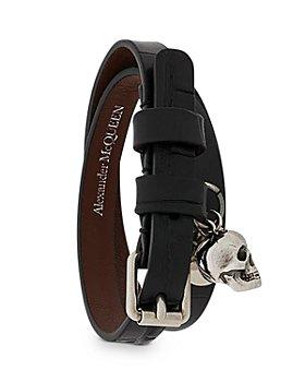 Alexander McQUEEN - Croc Embossed Leather Double Wrap Skull Bracelet