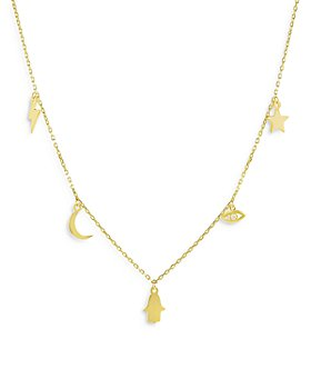 """Moon & Meadow - 14K Yellow Gold Diamond Dangle Charm Statement Necklace, 18"""" - 100% Exclusive"""