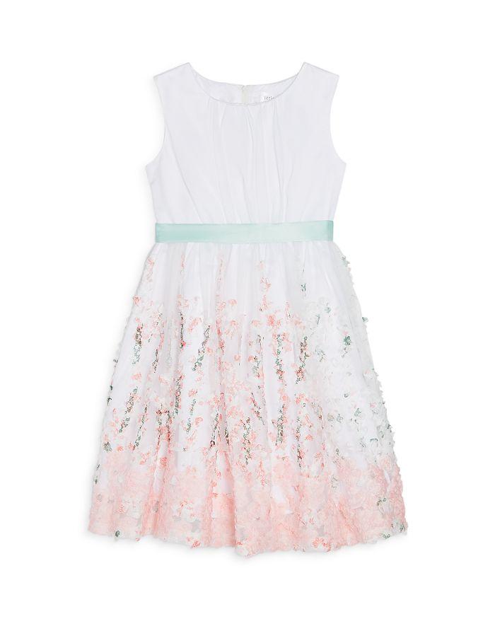 US Angels - Girls' Embroidered Ribbon Sash Dress - Little Kid