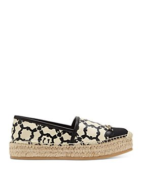 Salvatore Ferragamo - Gancini Stamp Leather Espadrille Flats