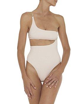 Stella McCartney - Embellished One Shoulder Asymmetric One Piece Swimsuit