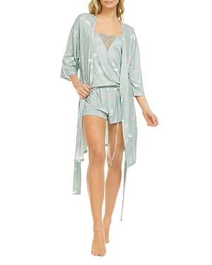 Floral Knit Three Piece Pajama Set
