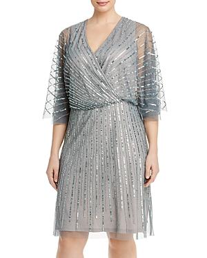 Beaded Flutter Sleeve A Line Dress