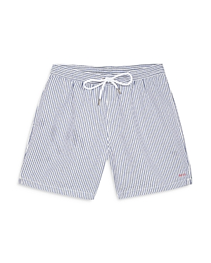 Boss Embroidered Striped Swim Shorts