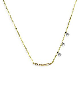 "Meira T - 14K Yellow & White Gold Mini Curved Diamond Bar Necklace, 18"""