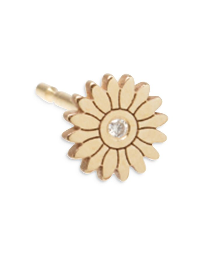 Zoë Chicco 14k Yellow Gold Diamond Flower Stud Earring