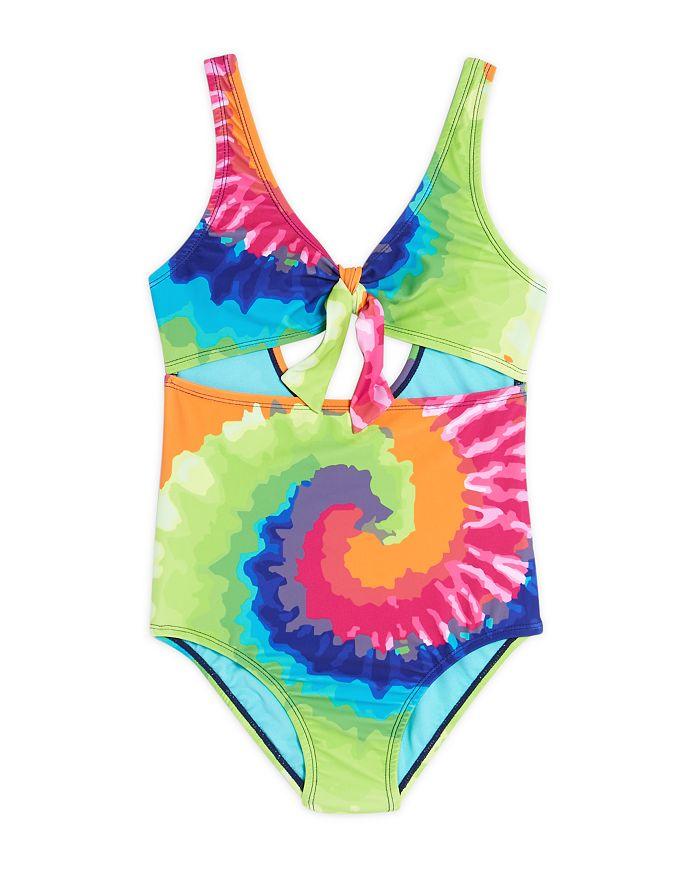 Limeapple - Girls' Tie-Dye One-Piece Swimsuit - Big Kid