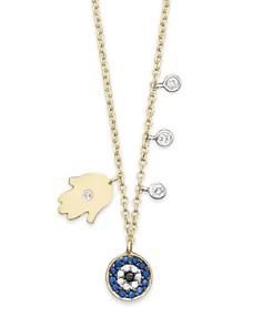 "Meira T - Diamond Hamsa 14K Yellow Gold Evil Eye Necklace, 16"""
