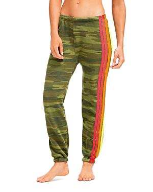 Camo Print Side Stripe Jogger Pants