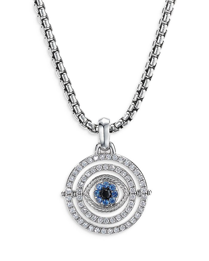 David Yurman - 18K White Gold Evil Eye Mobile Amulet with Blue Sapphires & Diamonds
