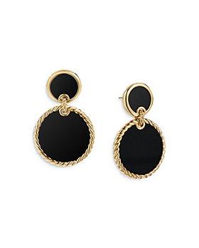 David Yurman - 18K Yellow Gold DY Elements® Double Drop Earrings with Black Onyx