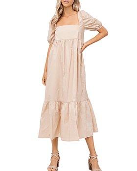 En Saison - Square Neck Puff Sleeve Midi Dress