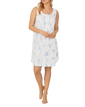 Printed Lace Trim Sleeveless Nightgown