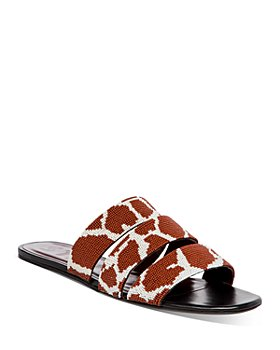 STAUD - Women's Mona Giraffe Print Beaded Slide Sandals