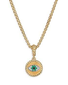 David Yurman - 18K Yellow Gold Evil Eye Amulet with Emeralds & Diamonds