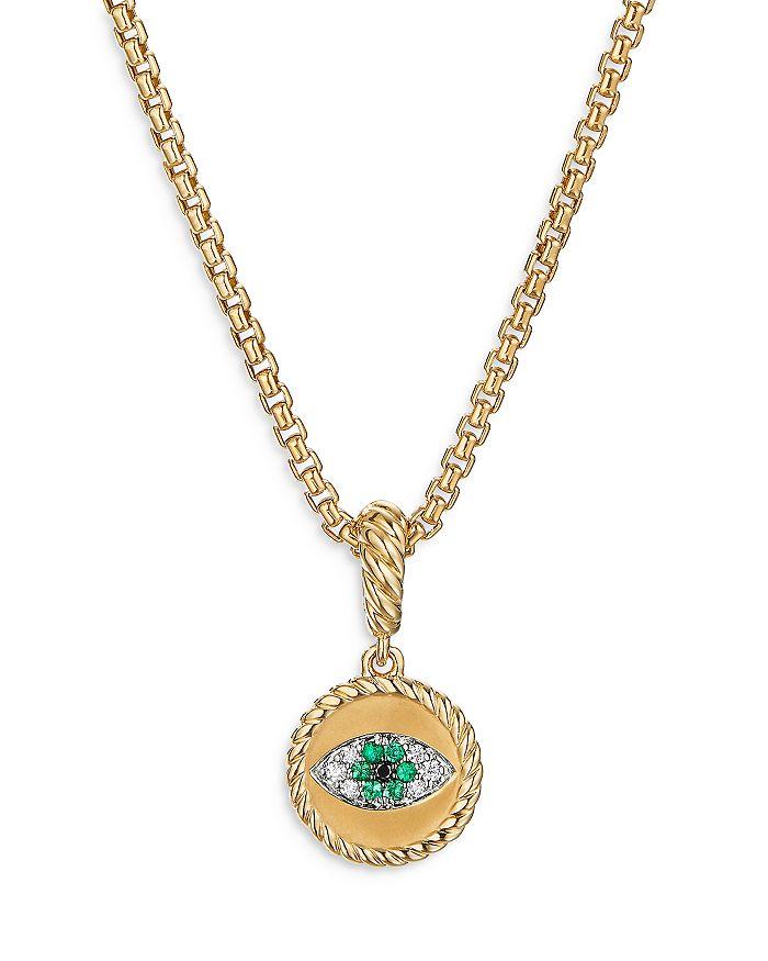 David Yurman - 18K Yellow Gold Evil Eye Amulet with Emeralds & Diamonds