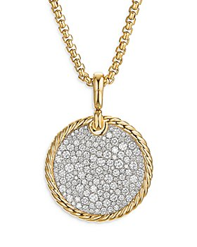David Yurman - 18K Yellow Gold DY Elements® Disc Pendant with Diamonds